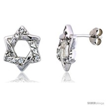 Sterling Silver Jeweled Star-of-David Post Earrings, w/ Cubic Zirconia s... - $50.93