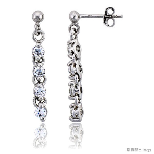 Primary image for Sterling Silver Jeweled Dangling Post Earrings, w/ Round Cubic Zirconia, 1 1/8in
