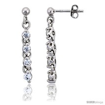 Sterling Silver Jeweled Dangling Post Earrings, w/ Round Cubic Zirconia,... - $37.87