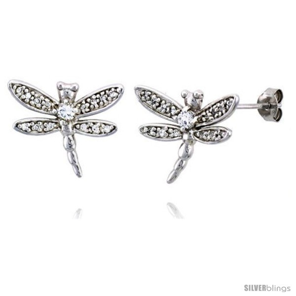 Primary image for Sterling Silver Jeweled Dragonfly Post Earrings, w/ Cubic Zirconia stones, 3/4in