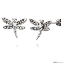 Sterling Silver Jeweled Dragonfly Post Earrings, w/ Cubic Zirconia stone... - $54.92