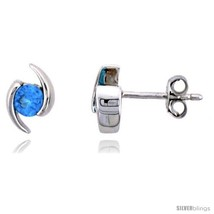 Sterling Silver Stud Earrings w/ Brilliant Cut Blue Topaz-colored CZ Sto... - $31.40