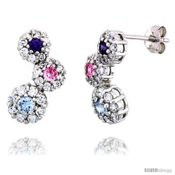Sterling Silver Graduated Flower Earrings w/ Brilliant Cut Amethyst-colored,  - $68.47
