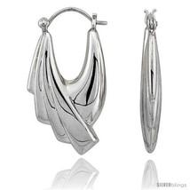 Sterling Silver High Polished Hoop Earrings, 1 1/4in  Long -Style  - $52.30