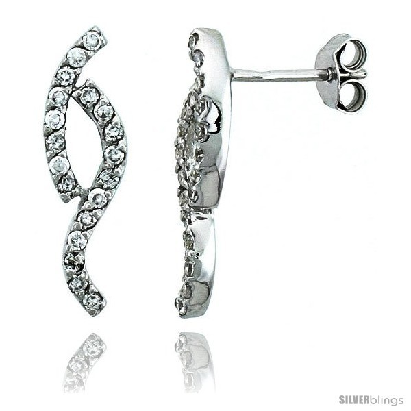 Primary image for Sterling Silver Jeweled Twisted Post Earrings, w/ Cubic Zirconia stones, 13/16