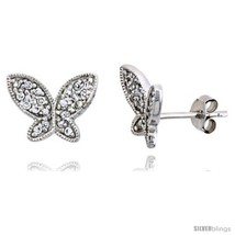 Sterling Silver Jeweled Butterfly Post Earrings w/ Cubic Zirconia stones... - $32.68
