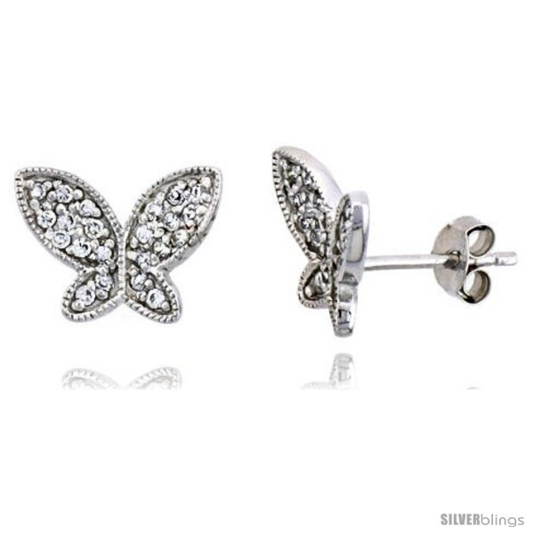 Primary image for Sterling Silver Jeweled Butterfly Post Earrings w/ Cubic Zirconia stones, 3/8in