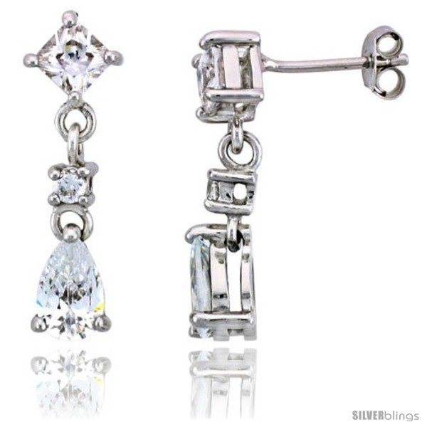 Primary image for Sterling Silver / CZ Dangle Post Earrings, w/ 3 stones, 15/16in  (24