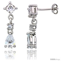 Sterling Silver / CZ Dangle Post Earrings, w/ 3 stones, 15/16in  (24  - $51.16