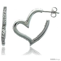 Sterling Silver Jeweled Heart Post Earrings, w/ Cubic Zirconia stones, 1... - $84.71