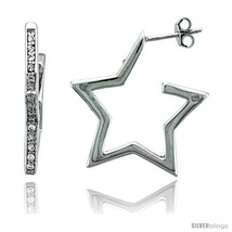 Sterling Silver Jeweled Star Post Earrings, w/ Cubic Zirconia stones, 15... - $84.71