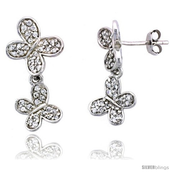 Primary image for Sterling Silver Jeweled Butterfly Post Earrings, w/ Cubic Zirconia stones,
