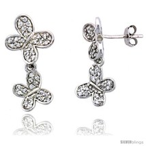 Sterling Silver Jeweled Butterfly Post Earrings, w/ Cubic Zirconia stones,  - $48.74