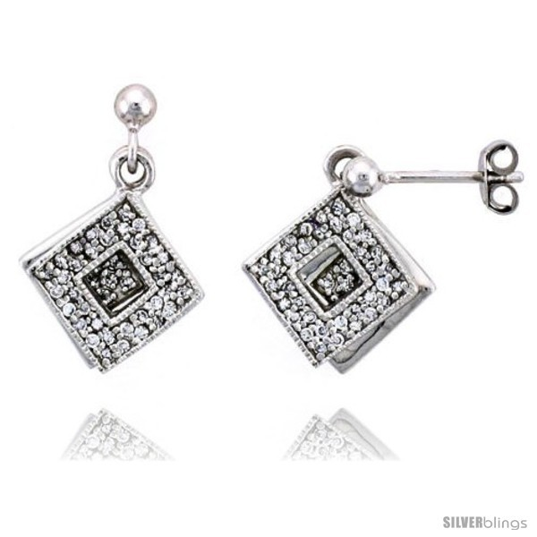 Primary image for Sterling Silver Jeweled Diamond-shaped Post Earrings, w/ Cubic Zirconia stones,