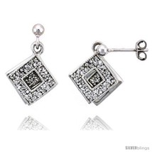 Sterling Silver Jeweled Diamond-shaped Post Earrings, w/ Cubic Zirconia ... - $73.50