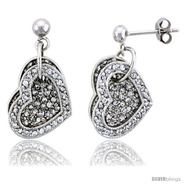 Primary image for Sterling Silver Jeweled Heart Post Earrings, w/ Cubic Zirconia stones, 11/16in