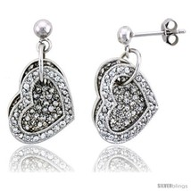 Sterling Silver Jeweled Heart Post Earrings, w/ Cubic Zirconia stones, 1... - $106.18