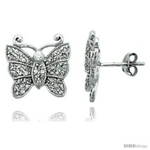 Sterling silver jeweled butterfly post earrings w cubic zirconia stones 9 16 15 mm thumb200