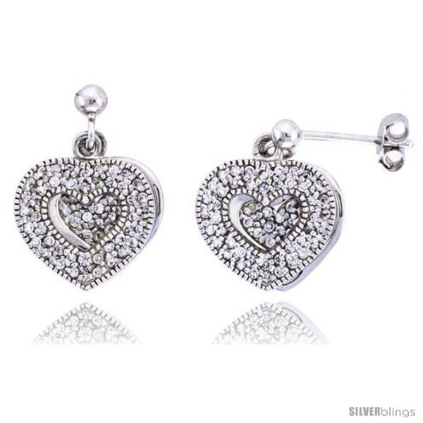 Primary image for Sterling Silver Jeweled Heart Post Earrings w/ Cubic Zirconia stones, 5/8in  (16