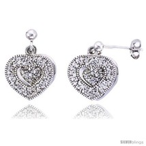 Sterling silver jeweled heart post earrings w cubic zirconia stones 5 8 16 mm thumb200