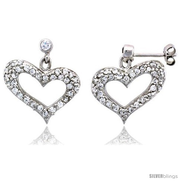 Primary image for Sterling Silver Jeweled Heart Post Earrings, w/ Cubic Zirconia stones, 7/8in  (2