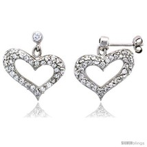 Sterling Silver Jeweled Heart Post Earrings, w/ Cubic Zirconia stones, 7... - $69.24