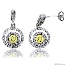 Sterling Silver Circle Dangle Earrings w/ Brilliant Cut Yellow Topaz-colored CZ  - $65.38