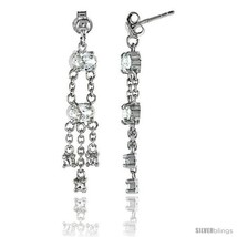 Sterling Silver Jeweled Post Earrings, w/ Oval & Round Cubic Zirconia, 1... - $56.02