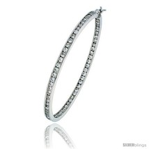 Sterling Silver Jeweled Hoop Post Earrings, w/ Cubic Zirconia stones, 2 ... - $142.00