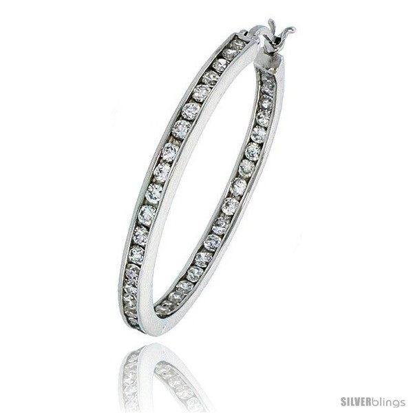 Primary image for Sterling Silver Jeweled Hoop Post Earrings, w/ Cubic Zirconia stones, 1 5/16