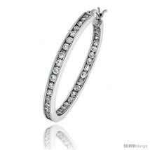 Sterling silver jeweled hoop post earrings w cubic zirconia stones 1 5 16 34 mm thumb200