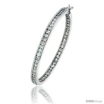 Sterling Silver Jeweled Hoop Post Earrings, w/ Cubic Zirconia stones, 1 ... - $131.06