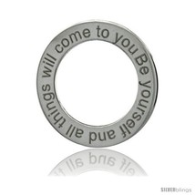 Sterling Silver Be Yourself And All Things Will Come To You Open Circle Disc  - $19.00