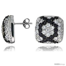 Sterling Silver 5/8in  (16 mm) tall Jeweled Cushion-shaped Post Earrings... - $81.90