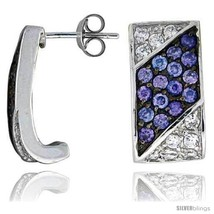 Sterling Silver 3/4in  (19 mm) tall Jeweled Rectangular Post Earrings, Rhodium  - $54.76
