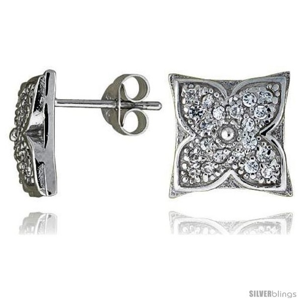 Primary image for Sterling Silver 7/16in  (11 mm) tall Jeweled Flower Post Earrings, Rhodium Plate