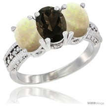 Size 5 - 10K White Gold Natural Smoky Topaz & Opal Ring 3-Stone Oval 7x5... - $547.86