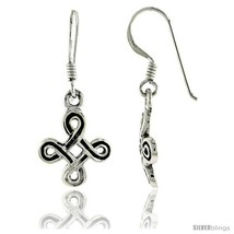 Sterling Silver Celtic Quaternary Knot Dangle Earrings, 1 1/4 in tall -Style  - $21.78