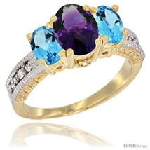 Size 8 - 14k Yellow Gold Ladies Oval Natural Amethyst 3-Stone Ring with ... - £542.01 GBP