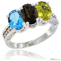 Size 9 - 14K White Gold Natural Swiss Blue Topaz, Smoky Topaz & Lemon Qu... - $721.48