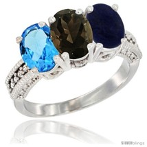 An item in the Jewelry & Watches category: Size 9 - 14K White Gold Natural Swiss Blue Topaz, Smoky Topaz & Lapis Ring