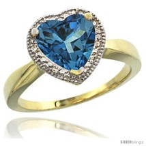 An item in the Jewelry & Watches category: Size 5.5 - 10k Yellow Gold Ladies Natural London Blue Topaz Ring Heart-shape