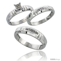 An item in the Jewelry & Watches category: Size 6 - Sterling Silver Diamond Trio Wedding Ring Set His 5.5mm & Hers 4mm
