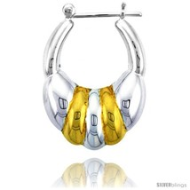 Sterling Silver Snap-down-post Hoop Earrings, w/ 2-Tone Gold Plate Accen... - $973,35 MXN