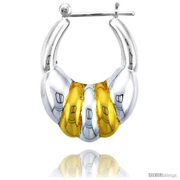 Sterling Silver Snap-down-post Hoop Earrings, w/ 2-Tone Gold Plate Accent, 1  - $58.96