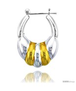 Sterling Silver Snap-down-post Hoop Earrings, w/ 2-Tone Gold Plate Accen... - $58.96