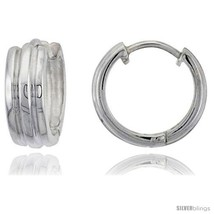 Sterling Silver Huggie Earrings with 2 Light Grooves Flawless Finish, 15/16  - $55.94