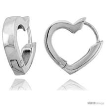 Sterling Silver Huggie Earrings Heart-shaped Flawless Finish, 11/16  - $59.17