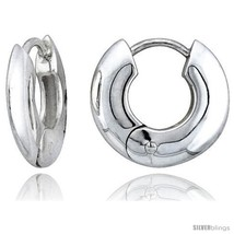 Sterling Silver Huggie Earrings Doughnut-shaped Flawless Finish, 15/16  - $59.96