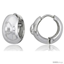 Sterling Silver Huggie Earrings w/ Pear-shaped Accent Flawless Finish, 11/16  - $80.00